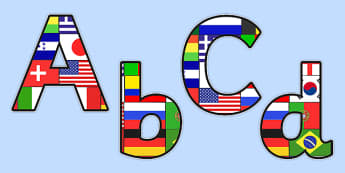 Football World Cup Flag Themed Display Lettering - sports, pe
