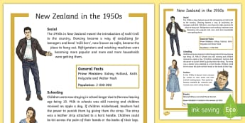 New Zealand in the 1950s Fact Sheet - New Zealand, 50s, fashion, decades, Aotearoa, fact file