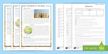 The Alamo Differentiated Reading Comprehension Activity - United States History, Texas, Texas History, The Alamo, Sam Houston, Santa Anna