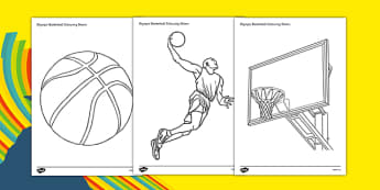 Rio 2016 Olympics Basketball Colouring Sheets - Basketball, Olympics, Olympic Games, sports, Olympic, London, 2012, colouring, fine motor skills, poster, worksheet, vines, A4, display, activity, Olympic torch, events, flag, countries, medal