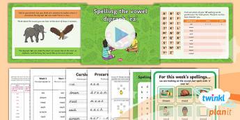 PlanIt Y1 Term 1B W5: 'ea' Spelling Pack