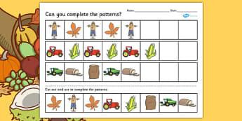 Harvest Complete The Pattern Worksheet - autumn, season, patterns