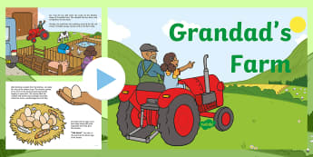 Exploring My World - Grandad's Farm Story PowerPoint - aistear, story, book, animals, farmyard, pig, chickens, growing, food