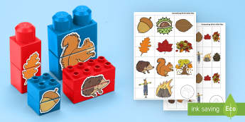 Autumn Matching Connecting Bricks Game - EYFS, Early Years, KS1, Connecting Bricks Resources, duplo, lego, plastic bricks, building bricks, A
