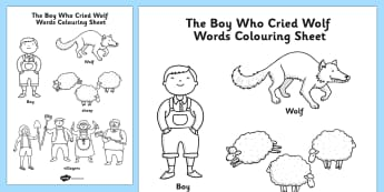 The Boy Who Cried Wolf Words Colouring Sheet - colour in, stories