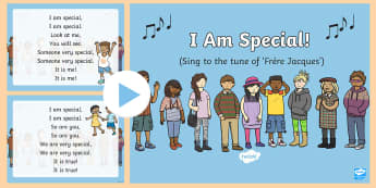 I Am Special Song PowerPoint - PSHE, SPHE, Myself, RSE, myself, all about me, unique, self-esteem