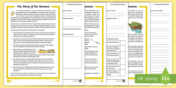 The Story of the Banana Reading Comprehension Differentiated Activity Sheet - The story of the banana, trade and development, Geography, tropical climates, imported goods, fair t