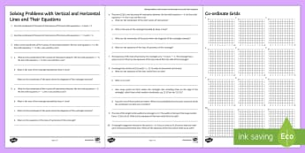 Solving Problems with Horizontal and Vertical Lines and Their Equations Activity Sheets - English - Equation Of Line, Straight Line Graphs, Horizontal and Vertical Lines, Problem Solving, Coordinates,
