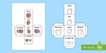 Prepositions Dice - numeracy, French, visual aid, position, game, prepositions