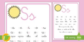 Cartilla de lectura: La letra S Hoja informativa - juego lectoescritura, juego lecto, juego didáctico, lecto, sonidos, lecto-escritura, fonemas, sonid