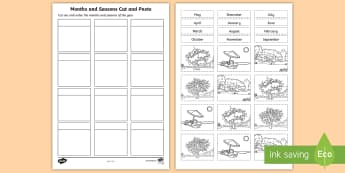 Months and Seasons Cut and Paste Activity Sheet - Mathematics, Year 2 , Measurement and Geometry, Using units of measurement, ACMMG040, maths, seasons