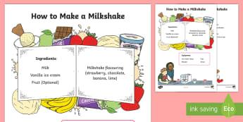 How to Make a Milkshake - Literacy, Australian curriculum, How To Make A Milkshake Procedure  Writing Sample, writing sample,