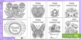 Mother's Day Mindfulness Colouring Cards - KS1 & KS2 Mother's Day UK (26.3.17)