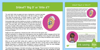 Deaf Awareness 'Big D Little d' Information Guide - ToD, Teacher of the Deaf, deafness, BSL, community, information, deaf culture, culturally deaf, cult