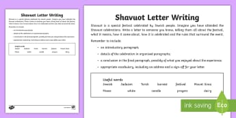 Shavuot Letter  Writing Activity Sheet - Shavuot, (30.5.17), KS2, year 3, year 4, year 5, year 6, yr 3, yr 4, yr 5, yr 6, Jewish people, Jewi
