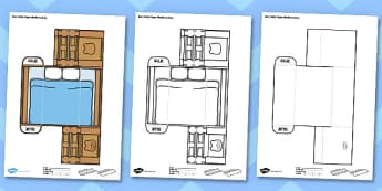 3D Bear Beds Paper Model Activity - 3d, bear, beds, paper model