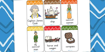 Australian Settlement Flashcards - aborigines, visual aids