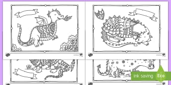 Dragons Mindfulness Coloring Activity Sheets - fantasy, dragons, color, coloring, activity, art, worksheets