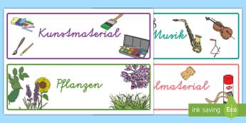 Boxenetiketten für die Klassenraumgestaltung - Ordnung, Schubladen, Schachteln, Boxen, Schilder, Beschriftung, Klassenzimmer, ,German