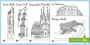 Hoja de colorear: Colorea a Gaudí  - Gaudí, modernismo, arte, proyecto de arte, arquitectura,Spanish