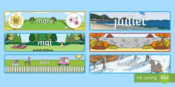 Pack d'affichage : Les mois de l'année -  banderole, banner, display, panneau d'affichage, mois, months, year, année, cycle 1, cycle 2, pac