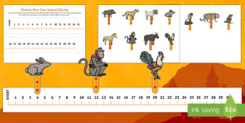 Chinese New Year Animal Number Line Race - Chinese New Year KS1. KS2, EYFS, Celebration, festivals, rooster