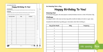 Happy Birthday To You! Activity Sheet