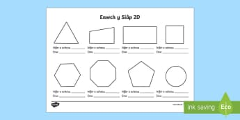 Taflen Waith Enwch y Siâp 2D - Siâp 2D, defnyddio sgiliau geometreg, Siâp, siap, Siap, enwau siapiau 2D, cylch, Cylch, Sgwar, sgw