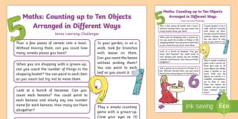 Counts an Irregular Arrangement of up to Ten Objects Home Learning Challenges - ealry years, mathematics, counting, homework, home school links, EYFS