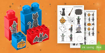 Halloween Matching Connecting Bricks Game - EYFS, Early Years, KS1, Connecting Bricks Resources, Duplo, Lego, Plastic Bricks, Building Bricks, H