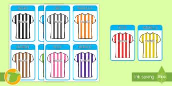 Los colores   Fútbol Tarjetas de vocabulario - deporte, deportes, camisetas, balón, EI, educación infantil,Spanish