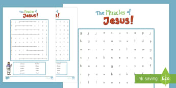 The Miracles of Jesus Bible Stories Differentiated Word Search - usa, america, miracles of jesus, bible stories