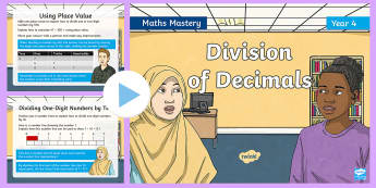 Year 4 Division of Decimals Maths Mastery PowerPoint - Reasoning, Greater Depth, Abstract, Problem Solving, Explanation