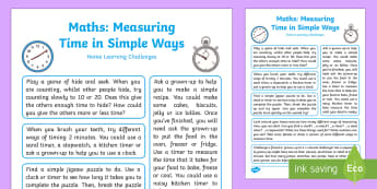 Measures Short Periods of Time in Simple Ways Home Learning Challenges - EYFS, Early Years, Measures Short Periods of Time in Simple Ways, mathematics, maths, home learning,