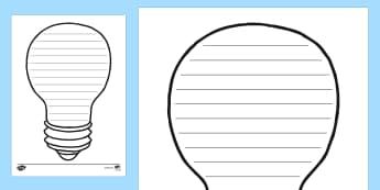 Lightbulb Writing Frame - lightbulb, light, dark, electricity