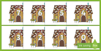Numbers 0-31 on Gingerbread House - 0-31, foundation stage numeracy, Number recognition, Number flashcards, counting, number frieze, Display numbers, number posters