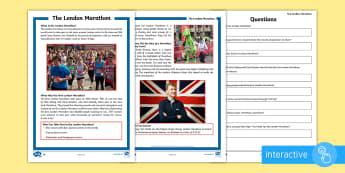 KS2 The London Marathon Differentiated Comprehension Go Respond Activity Sheets - KS2, comprehension, reading, reading comprehension, reading activity, London, marathon, running, eve