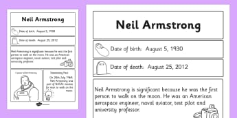 Neil Armstrong Significant Individual Fact Sheet - Armstrong