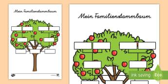 Mein Familienstammbaum Arbeitsblätter - Familienstammbaum, Stammbaum, Familie, meine Familie, Familienbaum,German