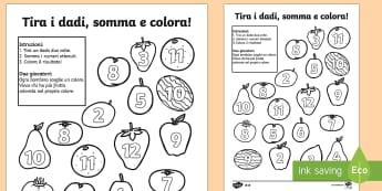Tira i Dadi e Colora la Frutta - frutta, tira, i dadi, colora, gioco, colorare, numeri, italiano, italian