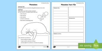 Manatees Fact File Activity Sheet - amazing fact august, animals, science, writing, KS1, information, worksheet