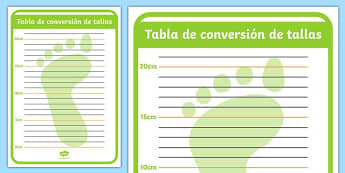 Tabla de conversión de tallas Shoe Shop Role Play Foot Measuring Chart Spanish - spanish, Shoe shop, shoes, role play, shop, trainers, display, poster, shoe box, labels, measuring chart, word cards