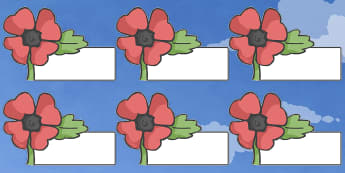 Editable Self Registration Labels (Poppy) - Poppies, Self registration, register, poppy, poppies, editable, labels, registration, child name label, printable labels, Remembrance Day, war, battle, world war, poppy, cross, army, fight, 11 November, Rem