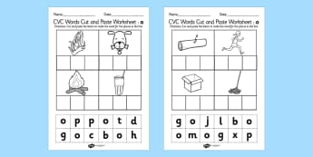 CVC Words Cut and Paste Worksheets o - CVC worksheets, CVC words