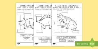 Ficha de actividad: Etiqueta las partes del dinosaurio - Dinosaurios, pre-historia, dinos, tiranosaurio, estegosaurio, triceratops, proyectos, aprendizaje ba