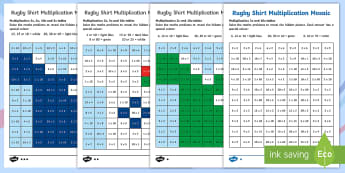 Rugby Shirt Multiplication Mosaics Activity Sheets -  Rugby Six Nations, multiplication, Recall and use multiplication and division facts for the 2, 5 an