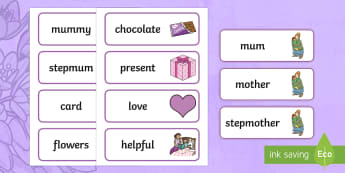Mother's Day Word Cards - ESL Mother's Day Vocabulary