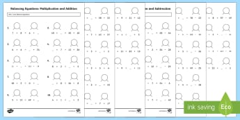 KS2 Balancing Equations Activity Sheets - KS2, Maths, solve problems, including missing number problems, using number facts, place value, and