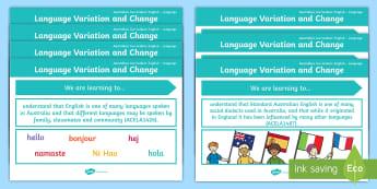 Language Content Descriptions: Language Variation and Change  Display Posters - Australian Curriculum English Content Descriptions Display Posters, Content Descriptors, Language Va