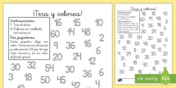 Ficha de actividad: ¡Tira y colorea! - Los múltiplos - múltiplos, colorea, colorear, pintar, multiplicación, multiplicar, dado, dados, tablas, juego, act